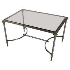 Brass and Steel Coffee Table with Rose Tinted Glass, Maison Jansen