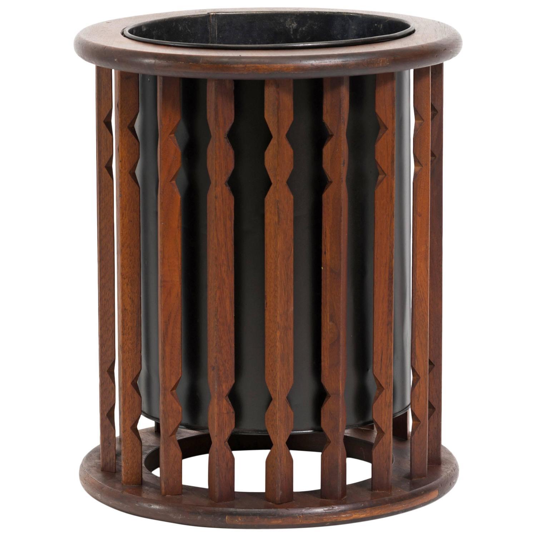 Rustic Rugs Topeka Ks: Walnut And Metal Trash Or Waste Can At 1stdibs
