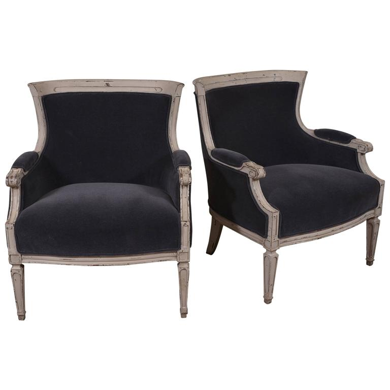 Pair of French Club Chairs For Sale