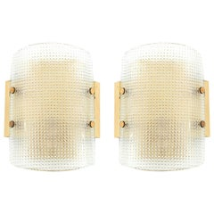 Pair of Hillebrand Wall Lights Sconces, Brass Glass, 1960s