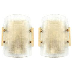 Pair of Hillebrand Wall Lights Sconces Brass Square Pattern Glass 1960s