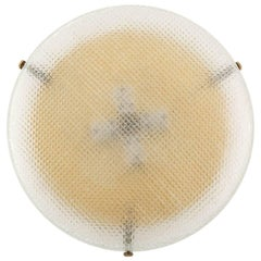 Hillebrand Flush Mount or Wall Light Fixture, Brass Square Pattern Glass, 1970