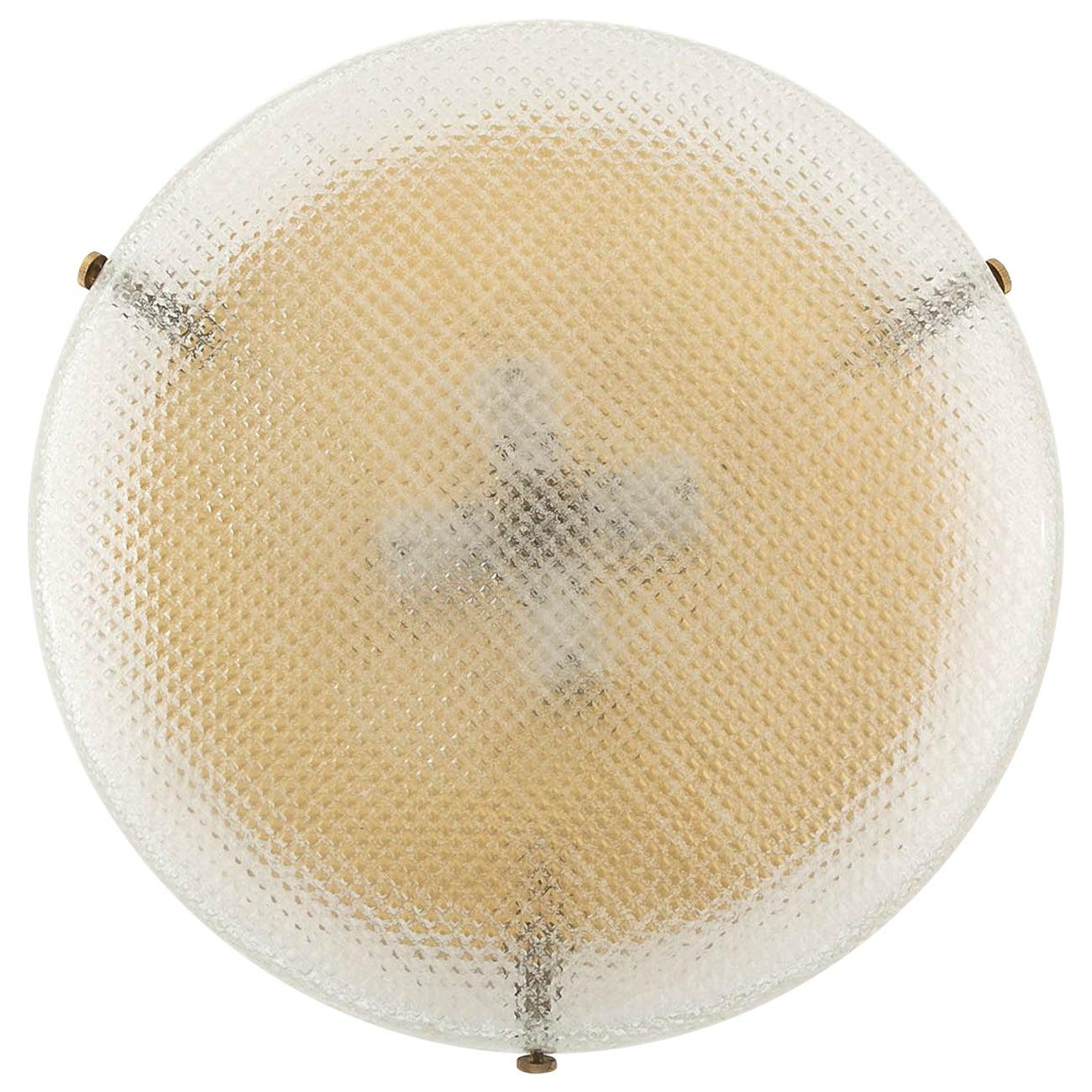Hillebrand Flush Mount or Wall Light Fixture, Brass Square Pattern Glass, 1970
