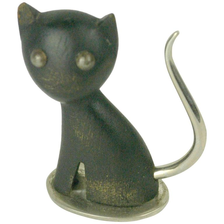 Small Austrian Midcentury Wood Cat by Karl Hagenauer For Sale