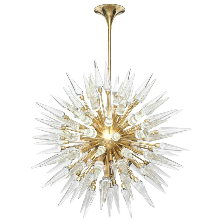 Original Large Glass and Brass Sputnik or Starburst Chandelier, 4ft diam. 1