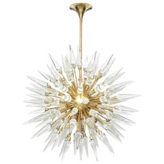 Large Clear Glass and Brass Sputnik or Starburst Chandelier, Italy, 48* diam.