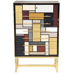 Mid-Century Mondrian Style Opaline Glass Chest with Brass Inlays, Italy