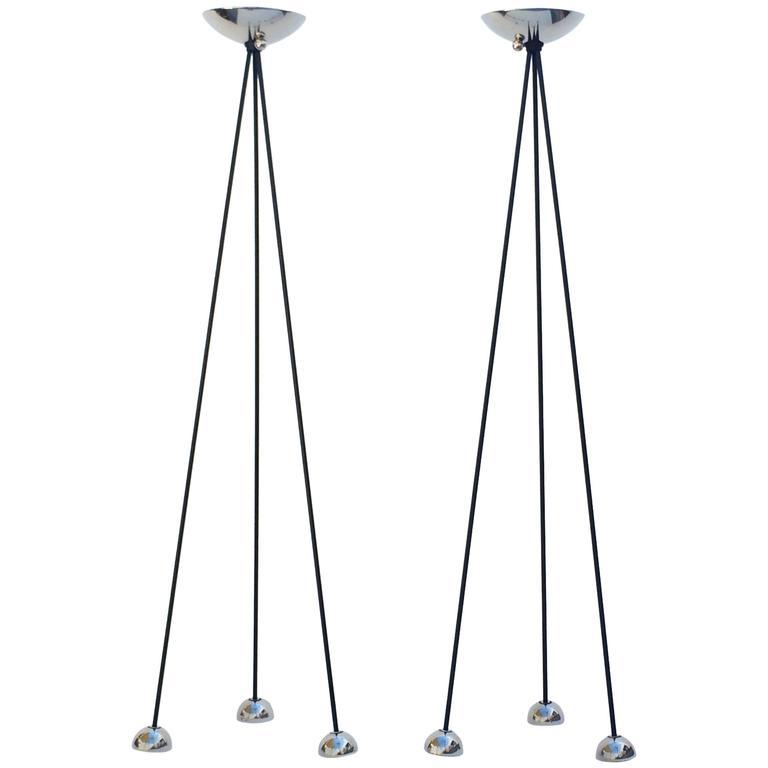 Pair of Nickel Torchiere Floor Lamp by Koch & Lowy