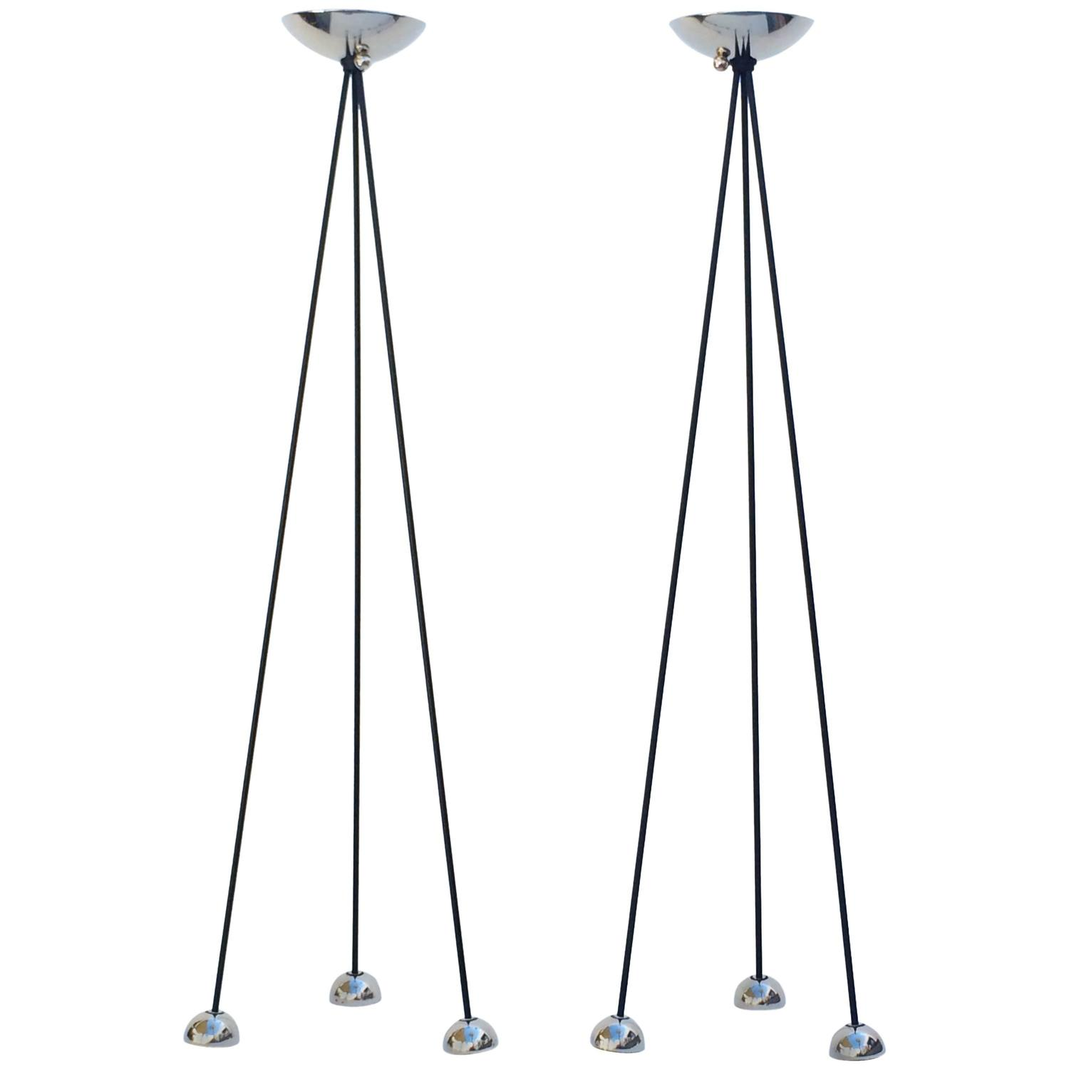 pair of nickel torchiere floor lamp by koch and lowy for sale at. Black Bedroom Furniture Sets. Home Design Ideas
