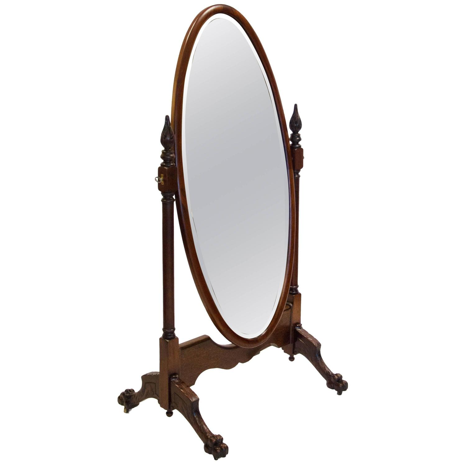 Antique mahogany cheval dressing mirror at 1stdibs for Full length window mirror