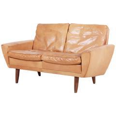Scandinavian Two-Seater Leather Sofa, 1960