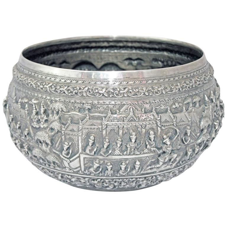 Solid Silver Hand-Worked Burmese Ceremonial Bowl, Jataka Scenes in Relief, Shan  For Sale