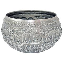 Solid Silver Hand-Worked Burmese Ceremonial Bowl, Jataka Scenes in Relief, Shan