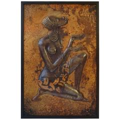 Hammered Copper Wall Relief Sculpture Panel with African Woman