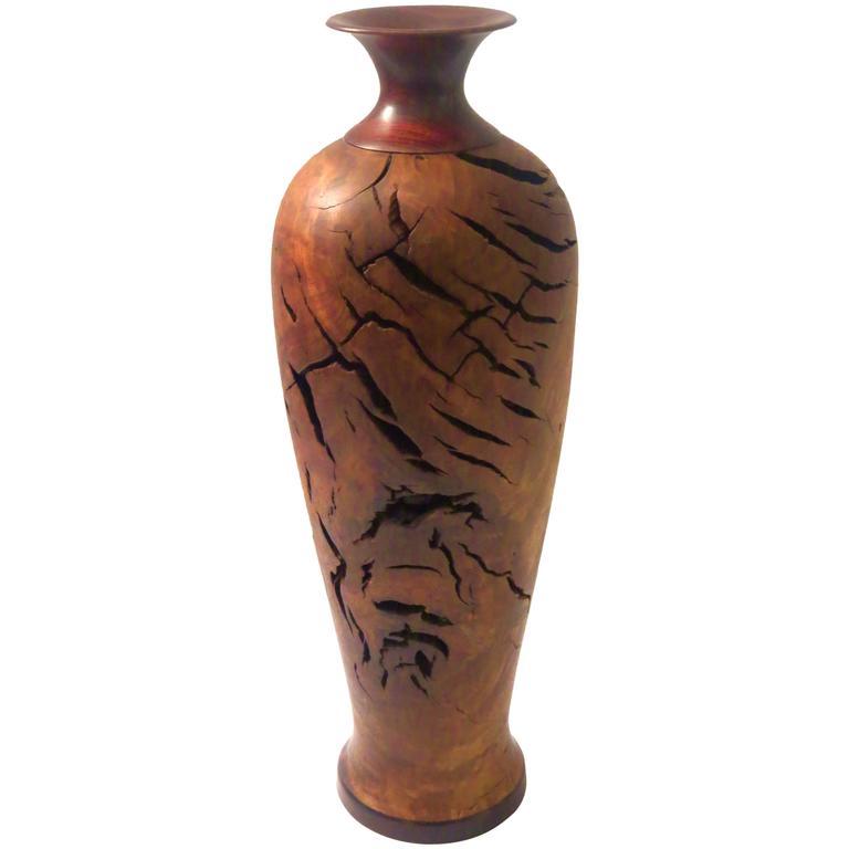 Rare Walnut Burl Wood And Rosewood Turned Wood Tall Vase At 1stdibs