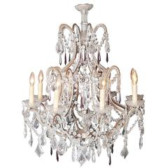19th Century Italian Eight-Light Crystal and Brass Chandelier with Pendants