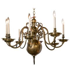 Antique Brass Eight-Light Dutch Chandelier