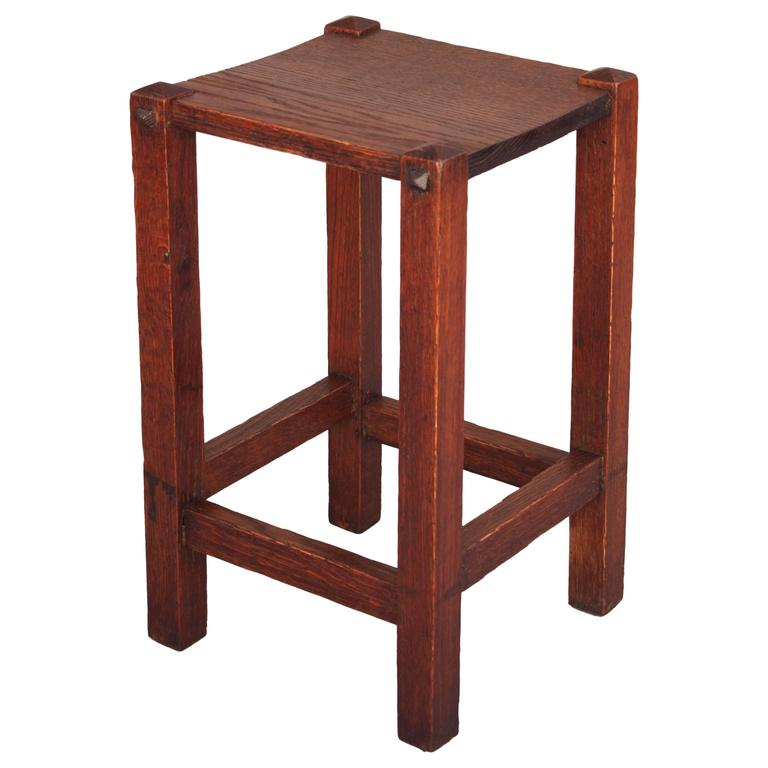 1910 Arts Crafts Mission Oak Side Table For