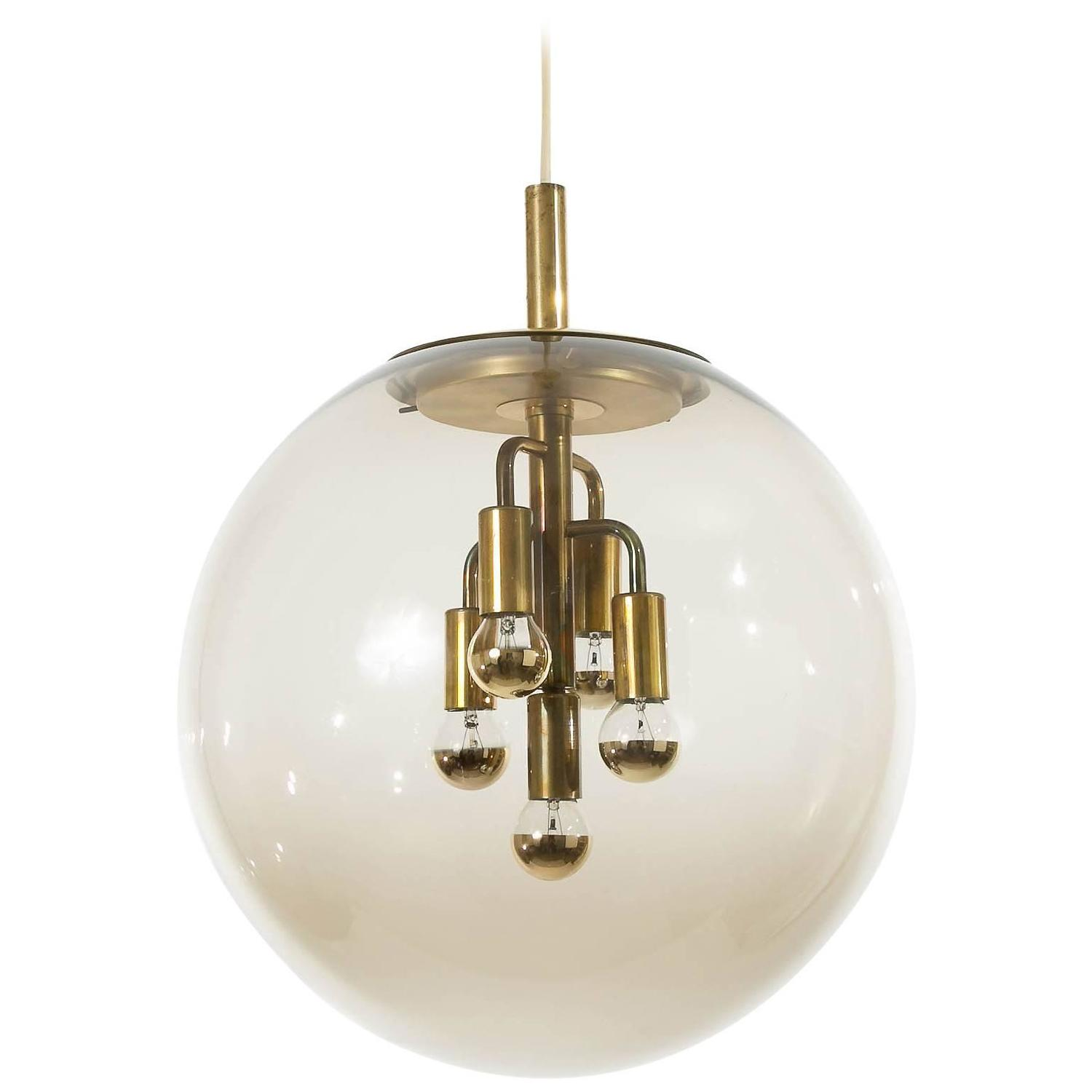 Large Limburg Pendant Light Brass And Amber Glass Globe