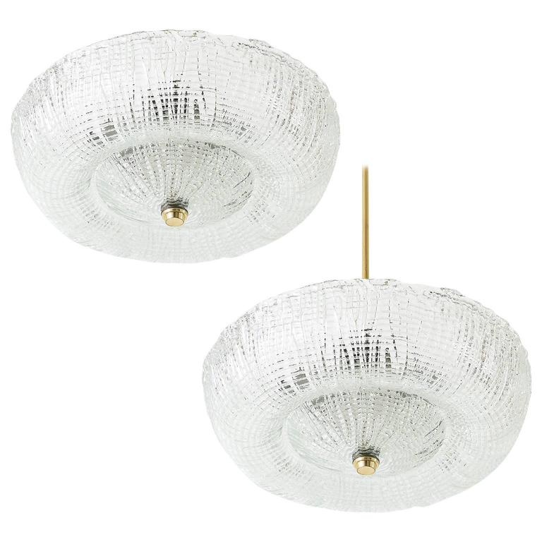 Pair of Kalmar Flush Mount Light Fixtures or Chandeliers, Brass and Glass, 1950s