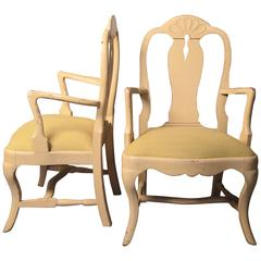 Pair of Swedish Baroque Style Armchairs