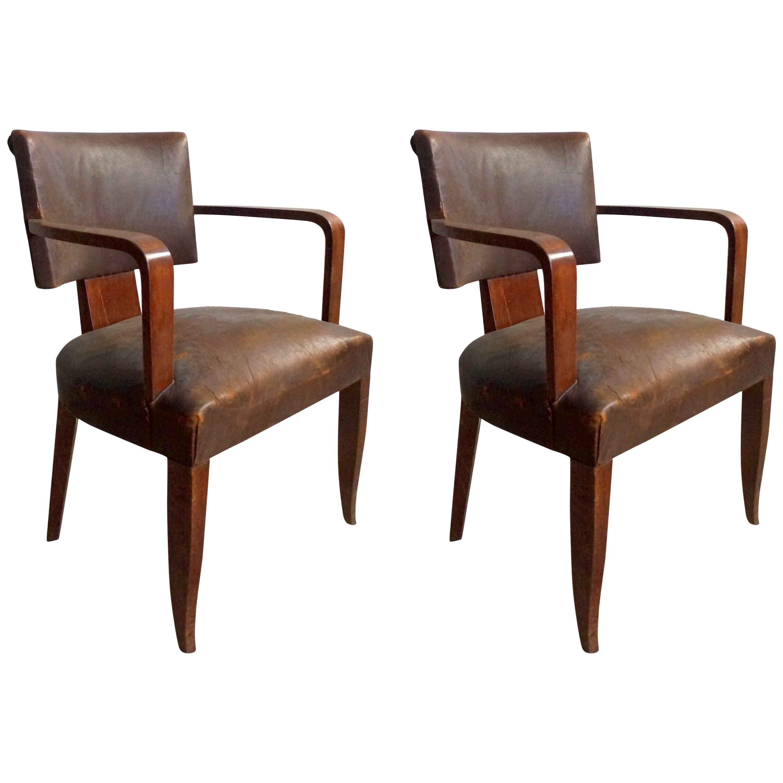Pair of Art Deco Leather Bridge Armchairs