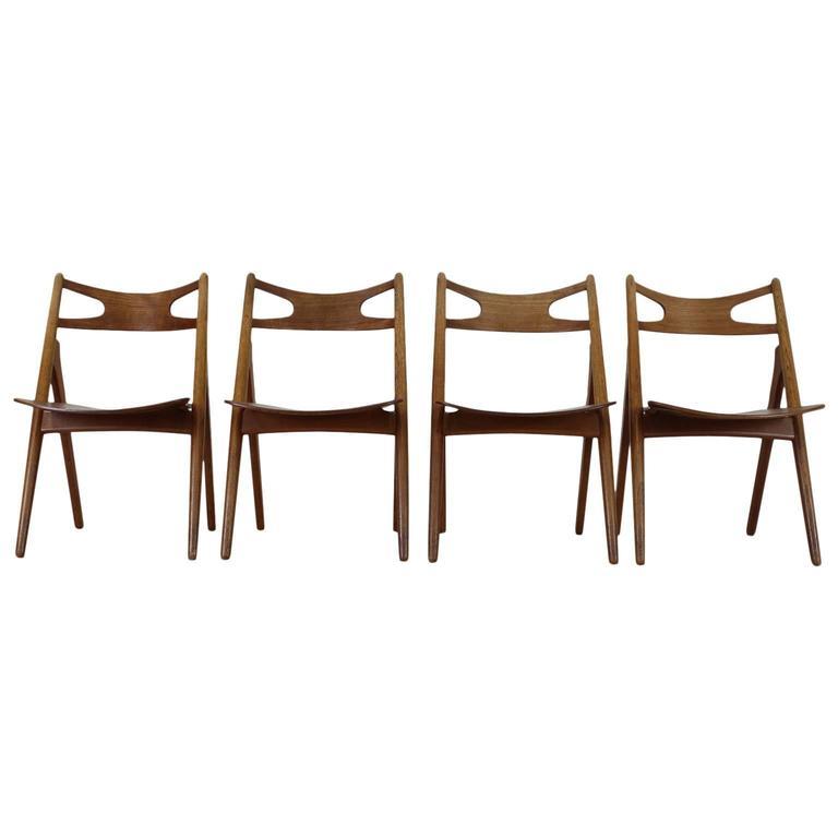 Set Of Four Hans J Wegner Sawback Ch 29 Chairs For Carl