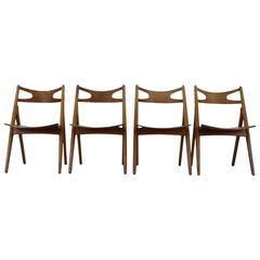 Set of Four Hans Wegner Sawback CH 29 Chairs for Carl Hansen