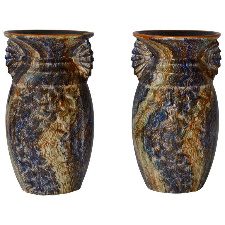 Pair of Belgian Ceramic Vases For Sale