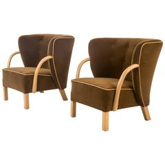 Viggo Boesen for Slagelse Møbelvaerk, A Pair of Rare Upholstered Chairs