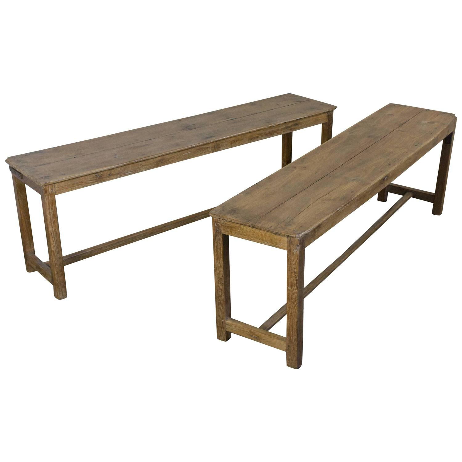 Pair Of Wooden Industrial Benches At 1stdibs