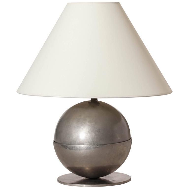 Boris Jean Lacroix French Art Deco Nickeled Brass Lamp