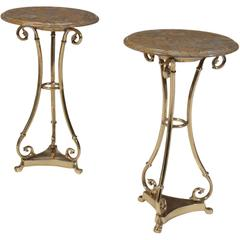 Pair of Brass Marble Top Gueridons