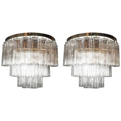 Pair of Large-Scale Mid-Century Modern Murano Tronchi and Brass Sconces