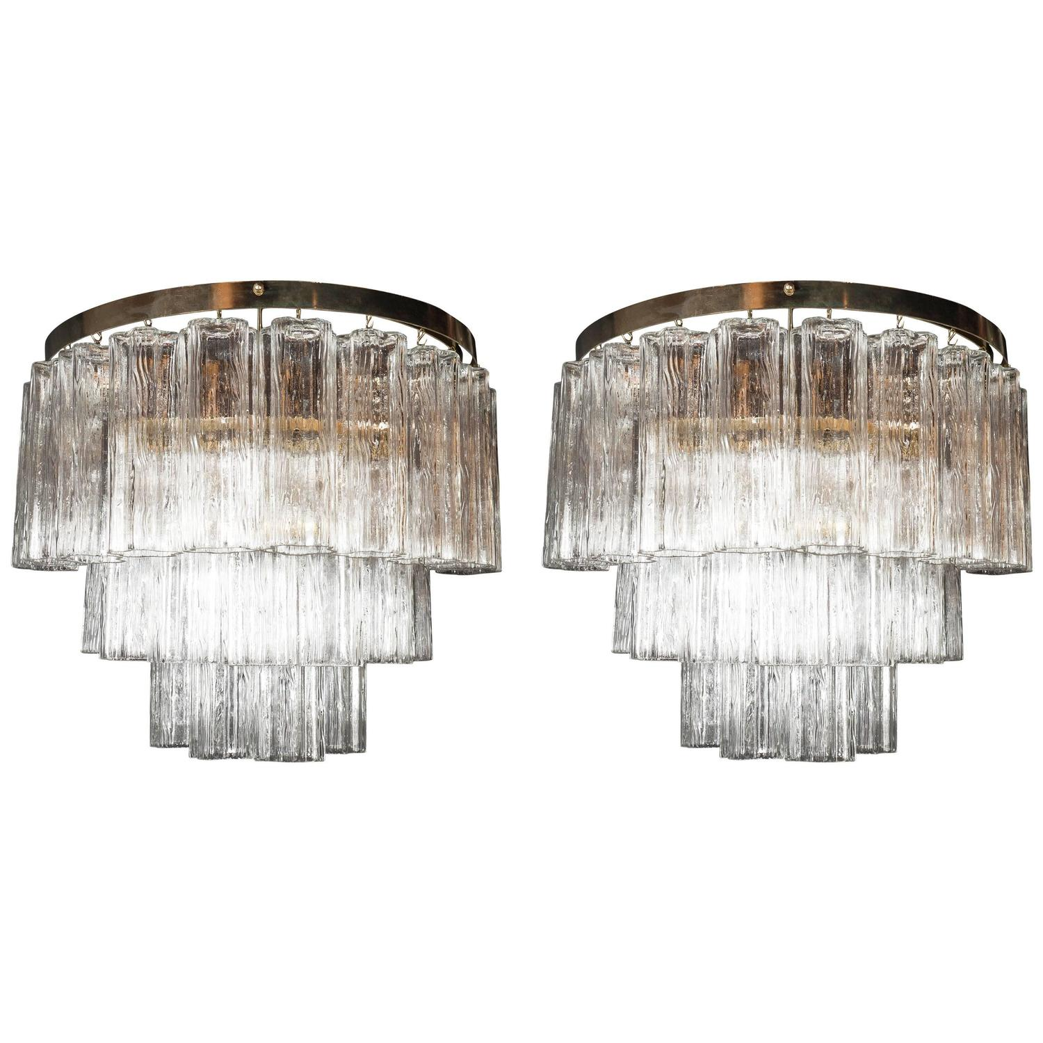 Pair of Large-Scale Mid-Century Modern Murano Tronchi and Brass Sconces at 1stdibs