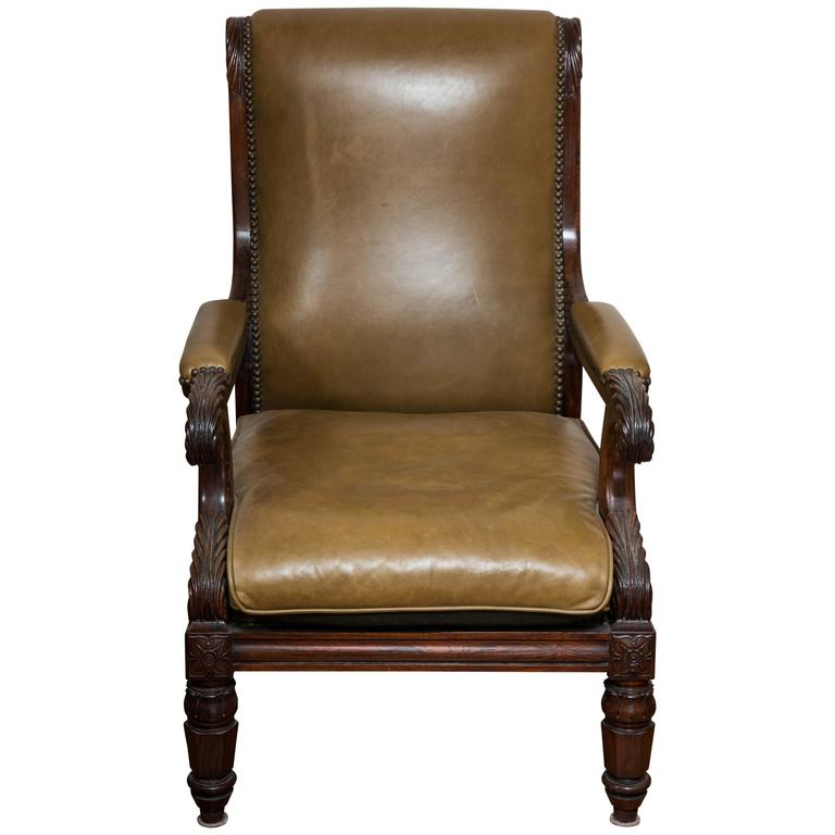 Regal William IV Carved Rosewood Library Chair For Sale