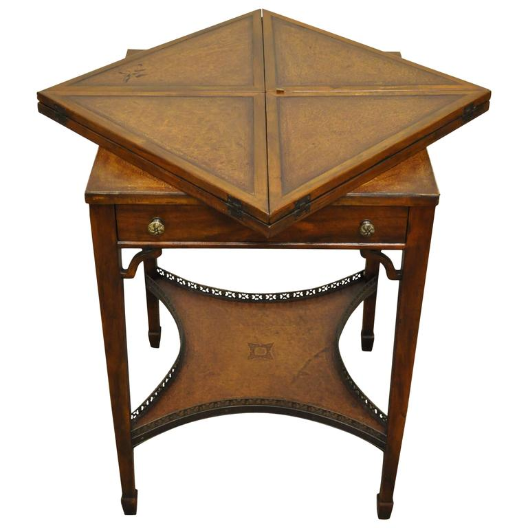 Quality 20th Century English Tooled Leather Napkin Folding Game or Side Table