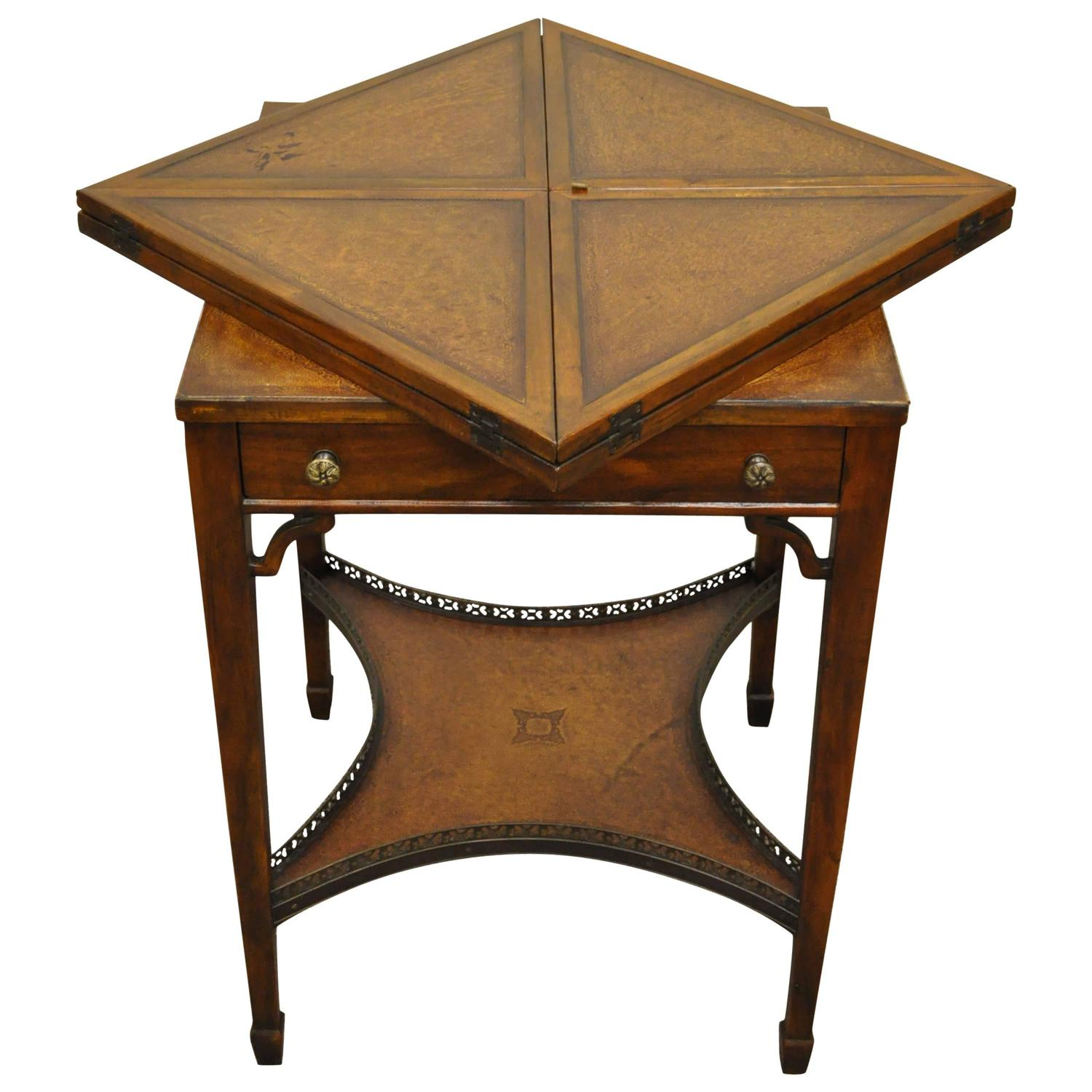Quality 20th Century English Tooled Leather Napkin Folding Game Or Side  Table For Sale At 1stdibs
