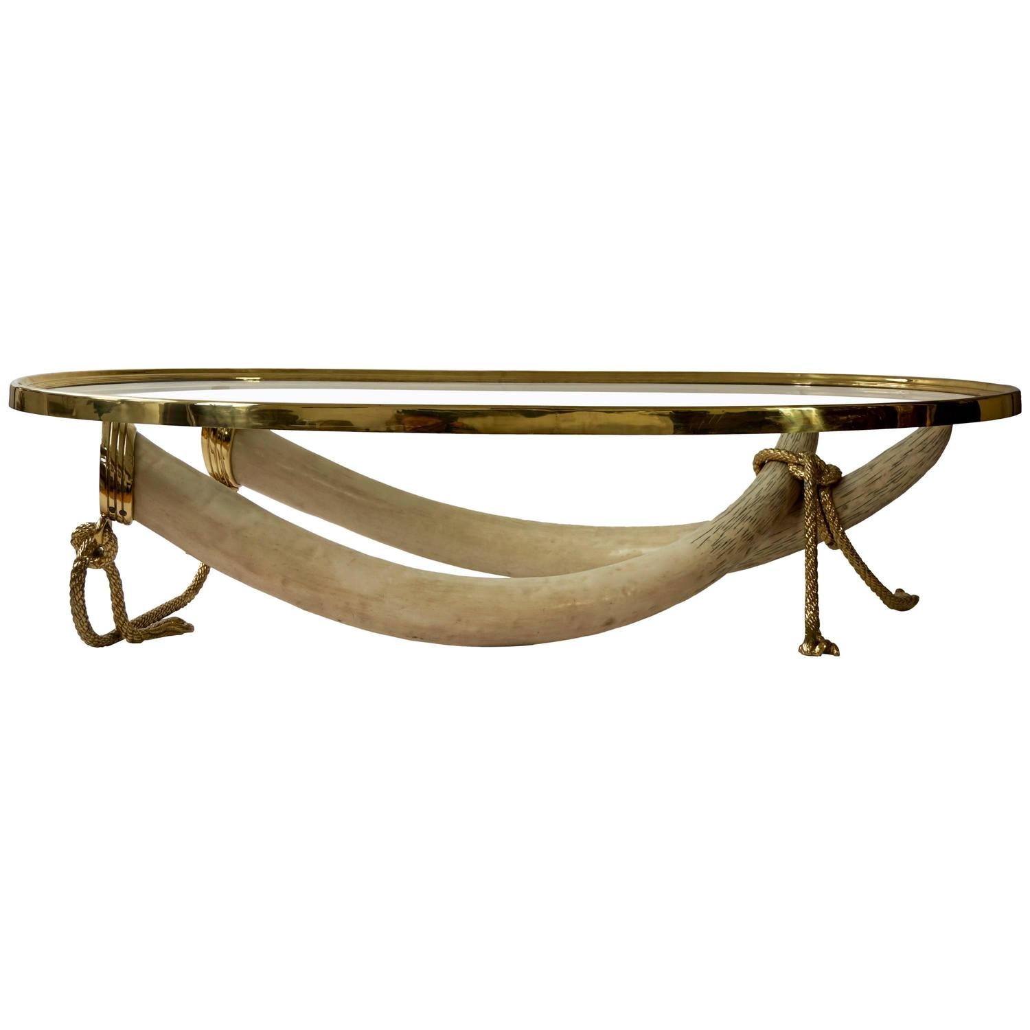 Glass and Brass Elephant Tusk Base Coffee Table by Valenti