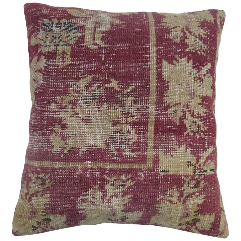 Rug Pillow from Remnants of a 19th Century Turkish Rug For Sale