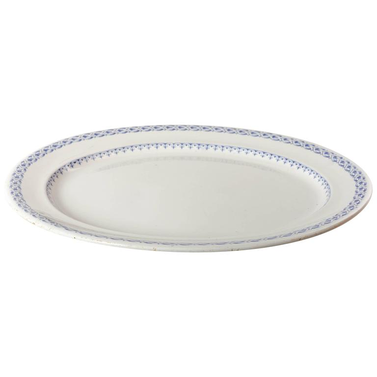 Large Oval English Davenport Blue and White Transfer Ware Platter