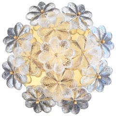 Medium Ernst Palme Floral Glass Flush Mount Lamp