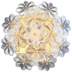 Medium Ernst Palme Floral Glass Flush Mount Lamp