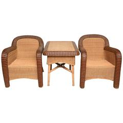 Pair of French Vintage Provence Rattan Club Chairs with Table