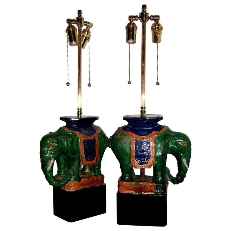 Pair of Vintage Chinese Porcelain Royal Elephants as Table Lamps For Sale