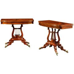 Pair of Brass-Mounted and Inlaid Games Tables