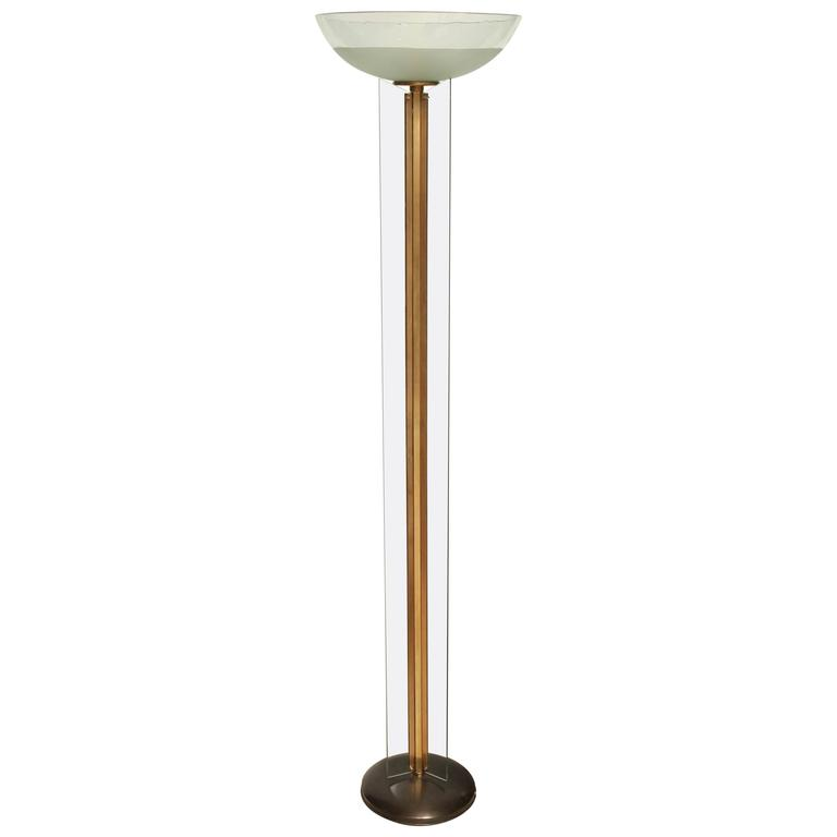 Mid century modern glass and brass torchiere floor lamp for Contemporary torchiere floor lamps