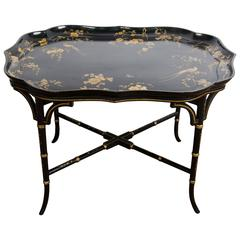 19th Century Paper Mache Tray on Stand