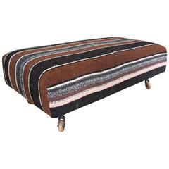 Vintage Bolivian Blanket Ottoman