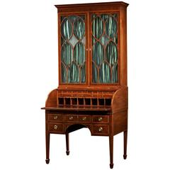 Important Federal Inlaid Mahogany Tambour Cylinder Secretary Bookcase